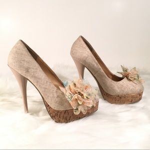 Diva Lounge Tan High Heels with Floral Accent